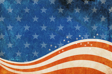 Grunge American flag background with room for copy space.