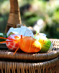 Easter colored eggs and basket