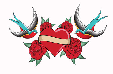 heart tattoo emblem