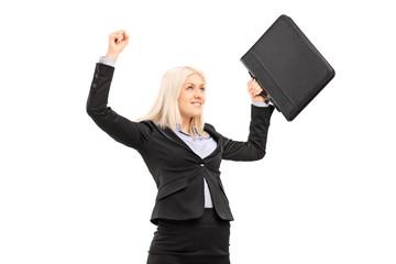 Proud businesswoman gesturing success