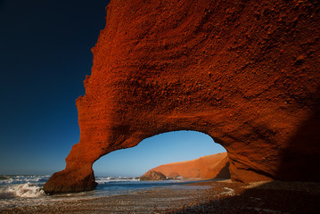 Printed roller blinds Magenta Legzira stone arches, Atlantic Ocean, Morocco, Africa