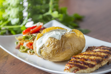 Grilled Chicken with baked potato