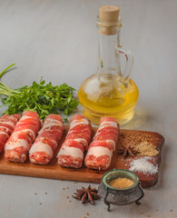 Meat rolls and spices