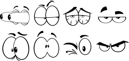 Black And White Cartoon Eyes 2  Collection Set