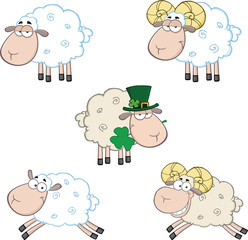 Ram and Sheep Cartoon Mascot Characters  Collection Set