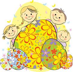 Vector Illustration celebrate kids Easter