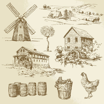 Watermill and windmill - hand drawn collection