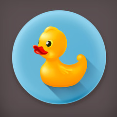 Rubber duck, long shadow vector icon