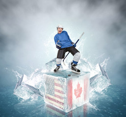 Screaming hockey player on abstract ice cubes background