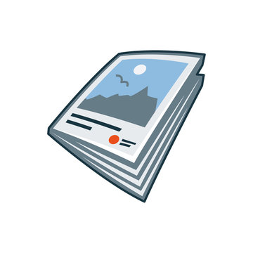 Magazine or brochure icon in cartoon style