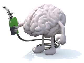 human brain with arms, legs and fuel pump in hand