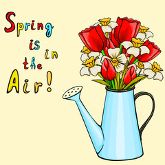 Vector cartoon watering can with bunch of spring flowers