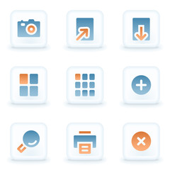 Image viewer web icons, white glossy buttons
