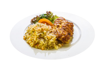 fish fillet with mayonnaise and garnished with rice