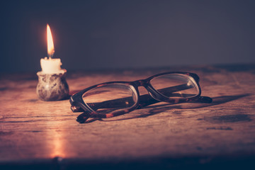 Glasses by candlelight