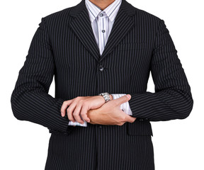 businessman hand crossed isolated white background