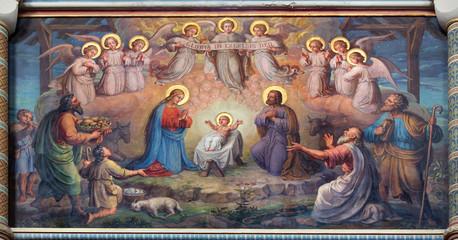 Vienna - fresco of Nativity scene in Carmelites church
