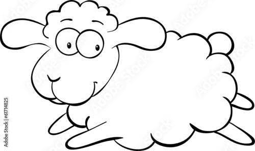 Ausmalbild springendes Schaf\