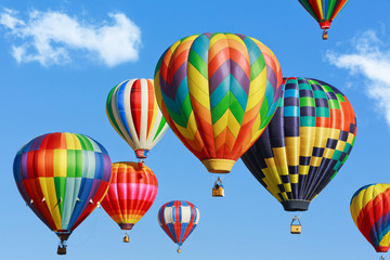 Poster Balloon Colorful hot air balloons on blue sky with clouds