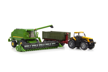 toys combine harvester and tractor with semi-trailer