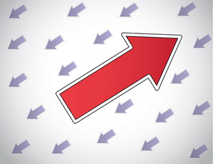 colorful red arrow moving up opposite direction to other arrows