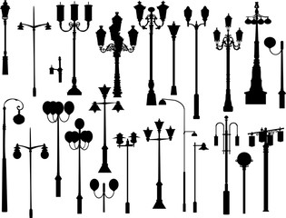 set of black street lamps collection