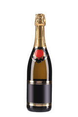 Champagne bottle with golden top.