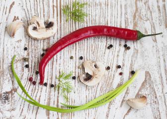 chilis, onion,  mushrooms and garlic