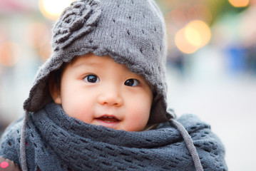 Cute Japanese little girl in the winter