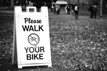 Walk your bike sign