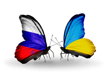 Two butterflies with flags Russia and Ukraine