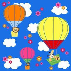 animal balloon sky seamless pattern background