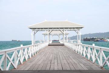 Boardwalk on the beach at kho sichang