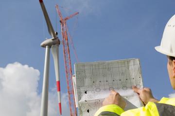 Alternative Energie - Windkraft Bau