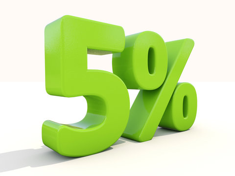 5% percentage rate icon on a white background