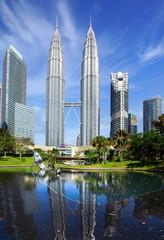 Fototapete - Petronas Twin Towers at Kuala Lumpur, Malaysia.