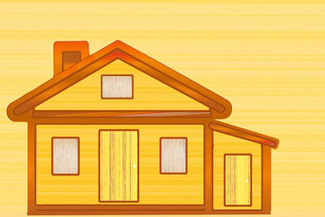 wooden house icon design on wooden  background