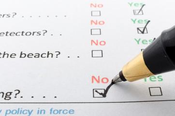 Filling questionnaire