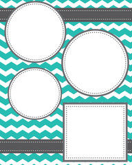 Circle and squares template with ribbons and chevron background