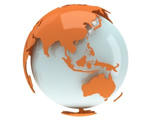 Earth planet globe. 3D render. China view.