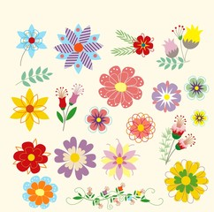 Vintage Flowers, vector romantic flowers