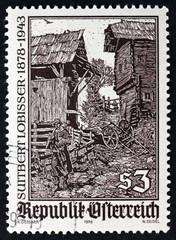 Postage stamp Austria 1978 Woodcut by Switbert Lobisser