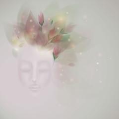 Sleeping beauty / Surreal illustration of Spring like Woman