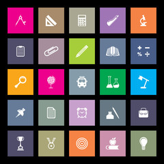 flat educational icons set
