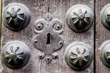 Door wall, detail of lock and metal ornaments