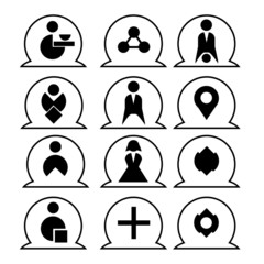 Black and white icons for business projects and sites