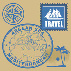 Stamp set with text Mediterranean, Aegean Sea, vector