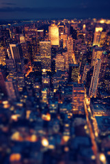 Wall Mural - New York Manhattan at night with soft focus