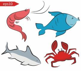Sea fish vector set