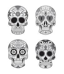 vector illustration set of skulls in mexican tradition
